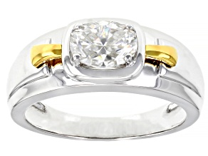 Moissanite Platineve And 14k Yellow Gold Over Platineve Mens Ring 1.50ct Dew