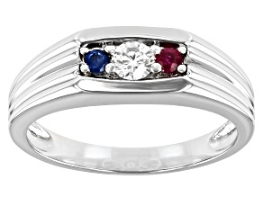 Moissanite and blue sapphire with ruby Platineve mens ring .23ct DEW.