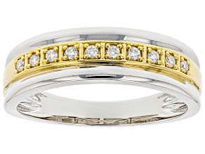 Moissanite Platineve And 14k Yellow Gold Over Platineve Mens Ring .20ctw Dew