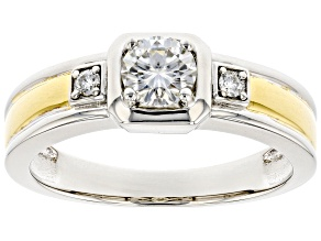 Moissanite Platineve And 14k Yellow Gold Over Platineve Mens Ring .66ctw Dew