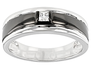 Moissanite platineve and black rhodium mens ring .18ct DEW.