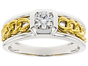 Moissanite Platineve And 14k Yellow Gold Over Platineve Mens Ring .50ct Dew