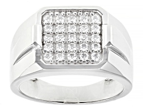 Moissanite Platineve Mens Ring .75ctw Dew