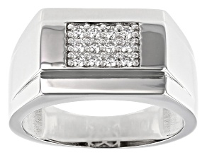 Moissanite Platineve Mens Ring .36ctw Dew