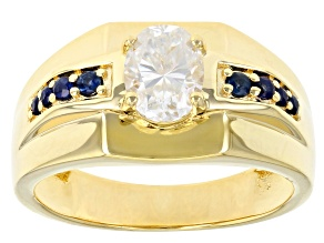 Moissanite and blue sapphire 14k yellow gold over sterling silver mens ring 1.50ct DEW.