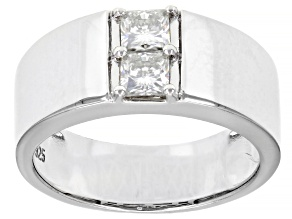 Moissanite Platineve Mens Ring .82ctw DEW.