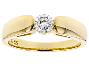 Moissanite 14k Yellow Gold Over Silver Mens Ring .60ct DEW.