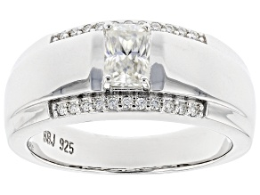 Moissanite Platineve Mens Ring .92ctw DEW.