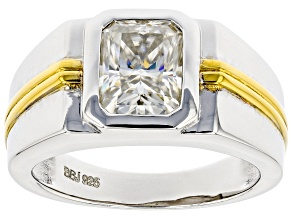 Moissanite Two Tone Platineve Mens Ring 2.70ct DEW