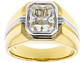Candle Light Moissanite 14k yellow gold and white rhodium over silver mens ring 3.90ct DEW.