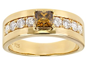 Champagne & colorless moissanite 14k yellow gold & rhodium over silver mens ring 1.50ctw DEW.