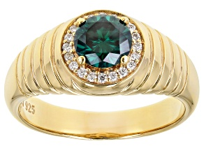 Green & colorless moissanite 14k yellow gold & rhodium over sterling silver mens ring 1.40ctw DEW.