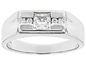 Moissanite Platineve Mens Ring .79ctw DEW.