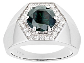 Green And Colorless Moissanite Platineve Mens Ring 3.58ctw DEW.