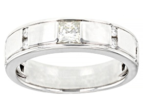 Moissanite Platineve Mens Ring .65ctw DEW.