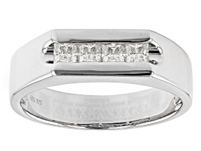 Moissanite Platineve Mens Ring .64ctw DEW.