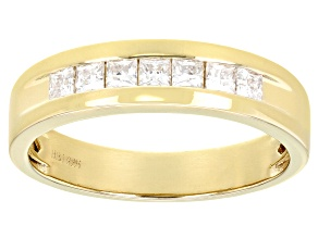 Moissanite 14k Yellow Gold Over Silver Mens Ring .70ctw DEW.