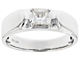 Moissanite Platineve Mens Ring .80ct DEW.