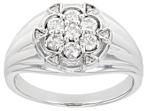 Moissanite Platineve Mens Ring .76ctw DEW.