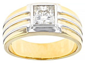 Moissanite 14k yellow gold and white rhodium over silver mens ring 1.70ct DEW.