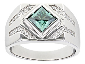 Green and colorless moissanite platineve mens ring 2.08ctw DEW.