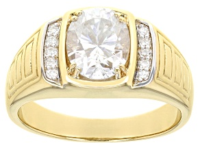 Moissanite 14k yellow gold over silver mens ring 3.10ctw DEW.