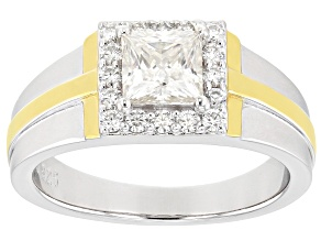Moissanite platineve and 14k yellow gold over platineve two tone mens ring 1.74ctw DEW.