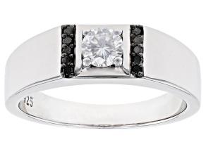Moissanite And Black Diamond Platineve Mens Ring .50ct DEW.