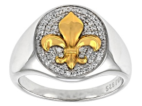 Moissanite platineve and 14k yellow gold over platineve two-tone Fleur-de-Lis mens ring .59ctw DEW.