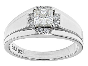 Moissanite platineve mens ring 1.14ctw DEW.