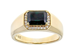 Green and colorless moissanite 14k yellow gold over silver mens ring 2.98ctw DEW.