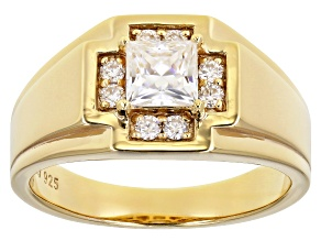 Moissanite 14k yellow gold over silver mens ring 1.14ctw DEW.