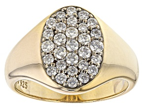 Moissanite 14k yellow gold over silver mens ring 1.05ctw DEW.