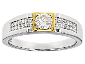 Moissanite platineve and 14k yellow gold over platineve mens ring .74ctw DEW.