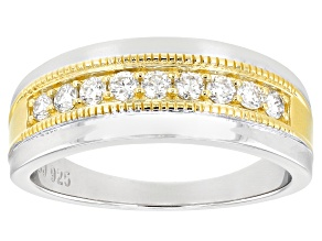 Moissanite platineve and 14k yellow gold over platineve mens ring .45ctw DEW.