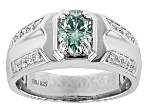 Green and Colorless Moissanite Platineve Mens Ring 1.22ctw DEW.