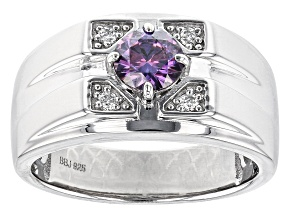 Purple and Colorless Moissanite Platineve Mens Ring .68ctw DEW.