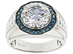 Moissanite and blue diamond Platineve mens ring 4.20 DEW