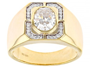 Moissanite 14k yellow gold over sterling silver mens ring 2.42ctw DEW.