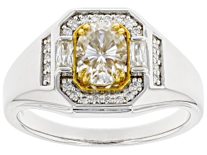 Moissanite platineve and 14k yellow gold accent platineve mens ring 1.92ctw DEW.