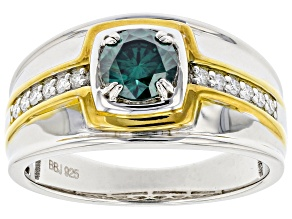Green And Colorless Moissanite Platineve with 14k Yellow Gold Accent Mens Ring .92ctw DEW.
