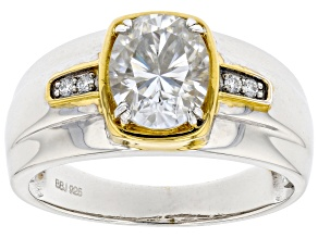 Moissanite Platineve With 14k Yellow Gold Accent Mens Ring 3.08ctw DEW.