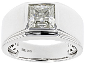 Moissanite Platineve  Solitaire Mens Ring 2.30ct DEW.