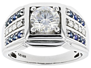 Moissanite and blue sapphire platineve mens ring 2.10ctw DEW.
