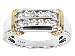 Moissanite platineve and 14k yellow gold over platineve mens ring .72ctw DEW.