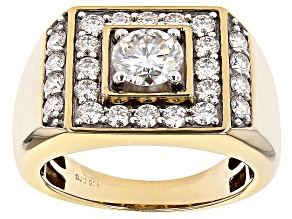 Moissanite 14k yellow gold over silver mens ring 2.64ctw DEW.
