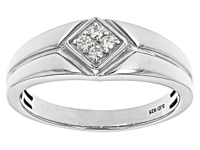 Moissanite Platineve  Mens Ring .12ctw DEW.