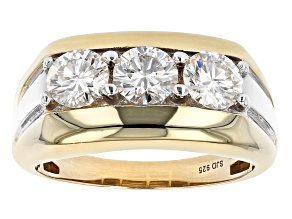 Moissanite 14k yellow gold over silver and platineve mens ring 2.40ctw DEW.