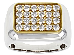 Moissanite platineve and 14k yellow gold over platineve mens ring 1.44ctw DEW.