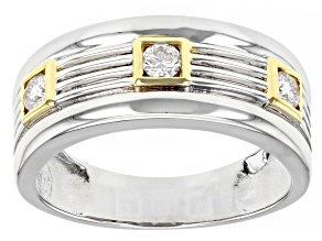 Moissanite platineve and 14k yellow gold over platineve mens ring .30ctw DEW.